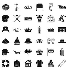 Hat icons set simple style vector