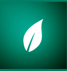 leaf icon isolated on green background vector image
