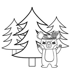 line ethnic bear animal with pine trees vector image
