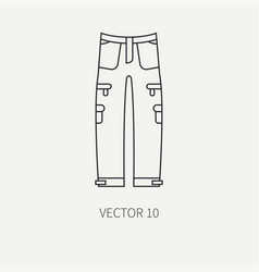 Line flat hunt and camping icon khaki pants vector