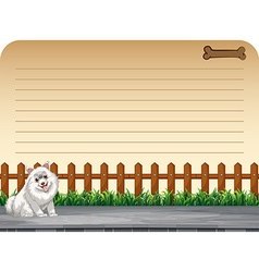 Line paper design with dog on the road vector