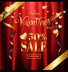 Luxury valentines day sale with red gold vector