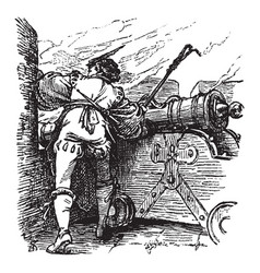 Man holding linstock peers through an embrasure vector