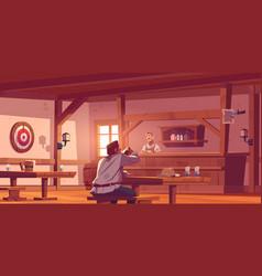 Man in beer pub retro tavern or antique bar vector