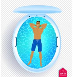 Man in floating tank vector