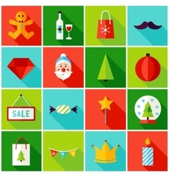 Merry Christmas Colorful Icons vector
