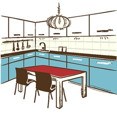 Modern kitchen room color sketchy on white vector image