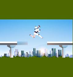 Modern robot jumping over gap broken bridge abyss vector