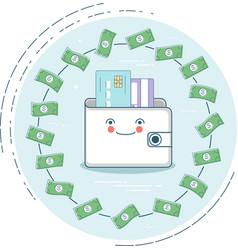 money wallet concept in line art style vector image