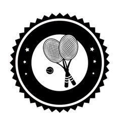 Monochrome circular frame with ball and tennis vector