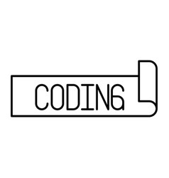 Monochrome silhouette label text of coding vector