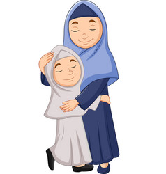 muslim mother and daughter hugging vector image