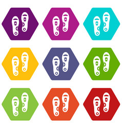 Orthopedic insoles icon set color hexahedron vector