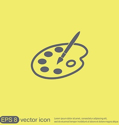 Palette with brush Symbol of art Icon painting vector image