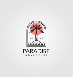 palm tree vintage logo design line art tree vector image