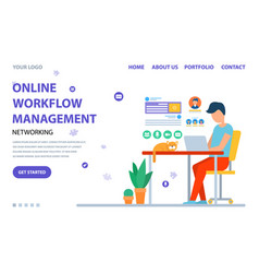 Person using laptop online workflow web vector