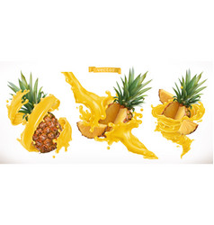Pineapple juice fresh fruit 3d realistic icon vector