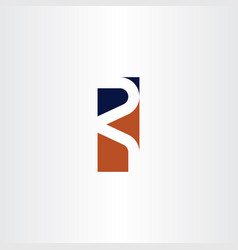 r letter dark blue orange logo symbol element vector image