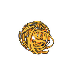 raw uncooked coiled nest shaped italian pasta vector image