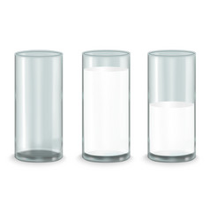 Realistic milk glass set vector