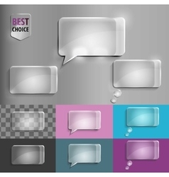 Rectangle set of glass speech bubble icons with vector image