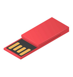 red usb flash icon isometric style vector image