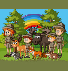 Scene with zookeepers and many wild animals in vector