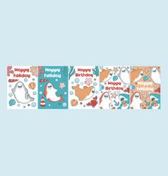 Sea card for children birthday cute baby vector