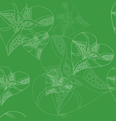 seamless green heart pattern - valentine wrapping vector image