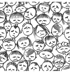Seamless pattern doodle face in stress vector