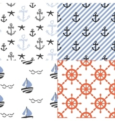 Seamless pattern set with nautical sailor vector image