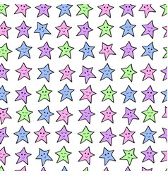Seamless pattern with colored cartoon stars vector