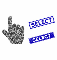 Select gesture mosaic and distress rectangle vector
