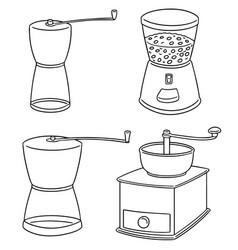 set of coffee grinder vector image