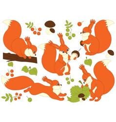set of cute cartoon squirrels vector image