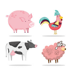 set of farm animals cartoons vector image