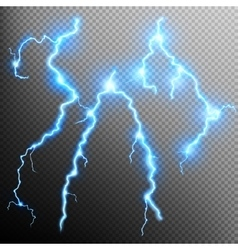 Set of isolated realistic lightnings EPS 10 vector