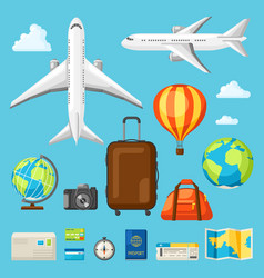 set of travel objects in flat style vector image