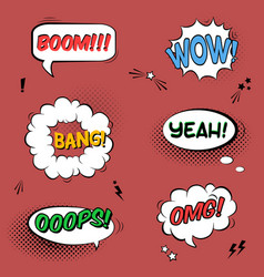 set with comic speech bubbles with sound effects vector image