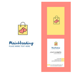 shopping bag creative logo and business card vector image