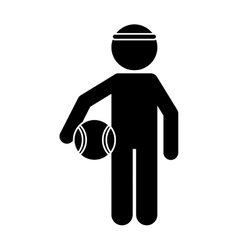 Silhouette player basketball with headband vector