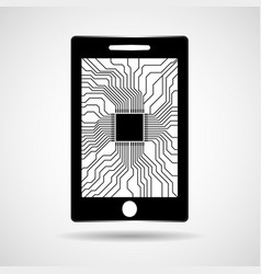 smartphone mobile phone with processor inside vector image
