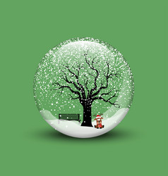 snow globe with christmas deer vector image