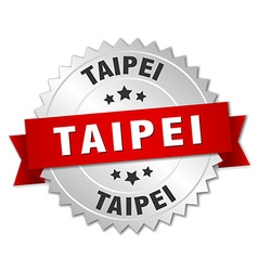 Taipei round silver badge with red ribbon vector