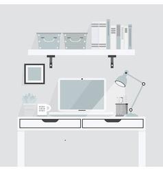 Teal office shelf vector