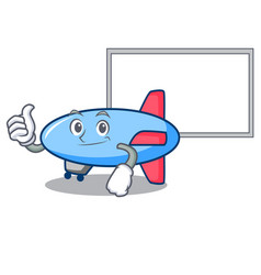 Thumbs up with board zeppelin character cartoon vector