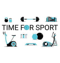 time for sport conceptfitness icons set flat vector image