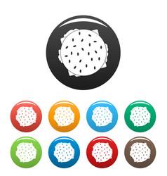 top view hamburger icons set color vector image