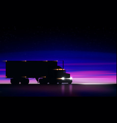 Truck moving on highway night classic semi vector