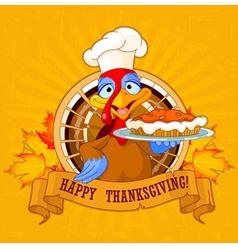 Turkey Holds Pie vector image